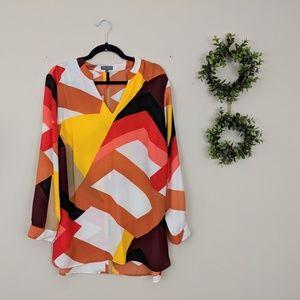 Vince Camuto Geometric Print Long Sleeve Blouse 1X